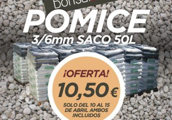 Oferta saco Pomice 50L grano 3/6 mm por solo 10,50 €